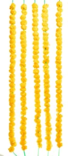 TIED RIBBONS Artificial Marigold Flowers String (Pack of 5) - Flower Garlands for Indian Wedding Party House Warming and D...