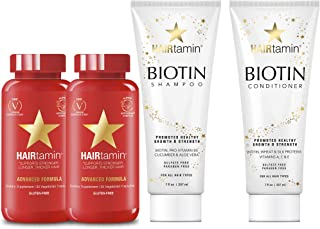 Hairtamin Biotin Hair Growth Vitamins Shampoo and Conditioner Set, Sulphate Free, Best Natural Hair Thickening Regrowth Shampoos Conditioners, 60 Day Multi-Vitamin, Safe on Colour Treated Hair