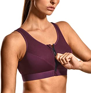 SYROKAN Women's High Impact Zipper Front Wire Free Cross Back Support Sports Bra