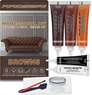 Brown Leather Repair Kits for Couches - Vinyl and Leather Repair Kit -Leather Paint- Leather Scratch, Tears & Burn Holes R...