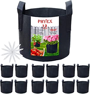 PHYEX 12-Pack 1 Gallon Nonwoven Grow Bags, Aeration Fabric Pots with Durable Handles, Come with 12 Pcs Plant Labels