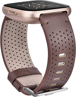 CAGOS Compatible Fitbit Versa 2/Versa, Versa Lite Edition Bands Perforated Leather Accessory Strap Replacement Wristband for Fitbit Versa Smartwatch Women Men (Dark Brown, (Small(5.5''-6.7'')