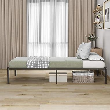 belupai Cadre de lit solide à plateforme - Aucun outil nécessaire pour le montage - Rangement sous le lit - Noir (200 x 90 cm