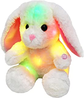 Bstaofy Glow White Bunny LED Rabbit Lop Ear Night Light Stuffed Animals Soft Plush Toys Birthday Halloween Christmas Festival Occasions Gift for Kids Toddlers, 8 inch