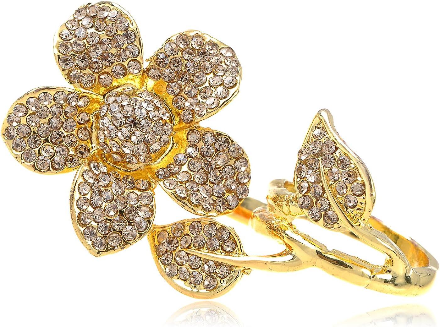 Alilang Two Fingers Daisy Golden Tone Topaz Smokey Light Crystal Rhinestone Flower Ring