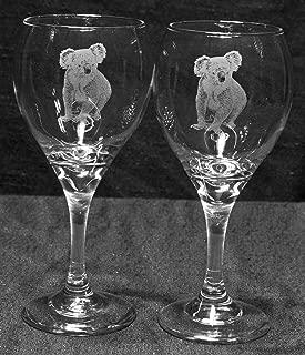 Muddy Creek Reflection Koala Bear Laser Etched Wine Glass Set (2, TDW)