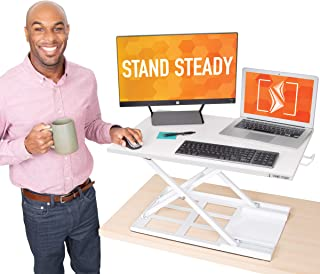 "Stand Steady X-Elite Pro Standing Desk Converter | Instantly Convert Any Desk into a Sit to Stand Up Desk | Easy Lift Height Adjustable Standing Desk | No Assembly Required! (28"" x 20"" / White)"