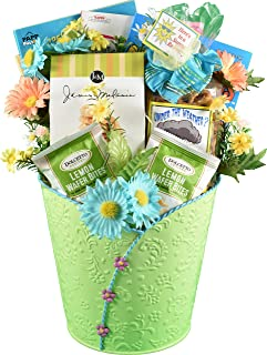 Good For The Soul, Get Well Gift Basket To Help With The Recovery Process In Painted Metal Planter With Cookies, Snack Mix, Coffee & Activity Books
