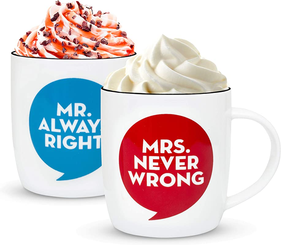 Gifffted Mr Always Right And Mrs Never Wrong Coffee Mugs For Couple Funny Wedding Anniversary Gift Couples Engagement Gifts Men Women Him Her His Hers Bride Birthday Valentines Day Gag Set Of 2