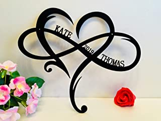 Personalized Wall Hanging Sign Couple Names Est. Year Established Custom Door Hanger Love Heart Shape Infinity Symbol Wedding Decorations Family Gift for Couples Outdoor Valentines Day Decor Wood Sign