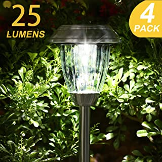 TAKE ME Solar Lights Outdoor,Garden Solar Walkway Path Lights,Super Bright LED Stainless Steel Glass Landscape Lighting for Lawn/Patio/Yard/Driveway