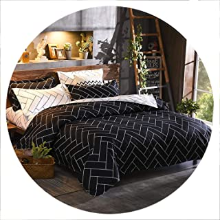 Nordic Plaid Bedding Set Soft Comforter Bedclothes Duvet Cover Black and White Adults Bed Linen Duvet Cover Set US Queen,03,US Queen 3PCS
