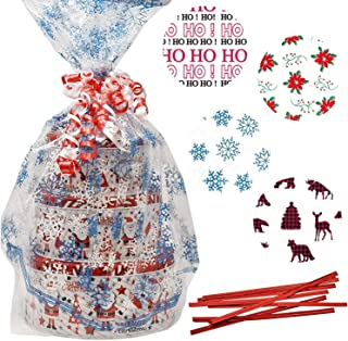 Gift Boutique Plastic Jumbo Christmas Cello Basket Bags, Christmas Cookie Tray Bags Pack of 8 Holiday Goody Party Favor Wrapping Bags 22