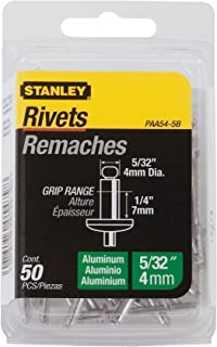 Stanley Paa54-5B Aluminum Rivets, 5/32 Inch X 1/4 Inch, Pack of 50