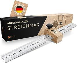 Adlerfokus Streichmaß EG-1 Made in Germany Anschlaglineal – Anreisswerkzeug mit extra stabilem INOX Lineal – Streichmaß Metall mit Anschlag aus Buchenholz