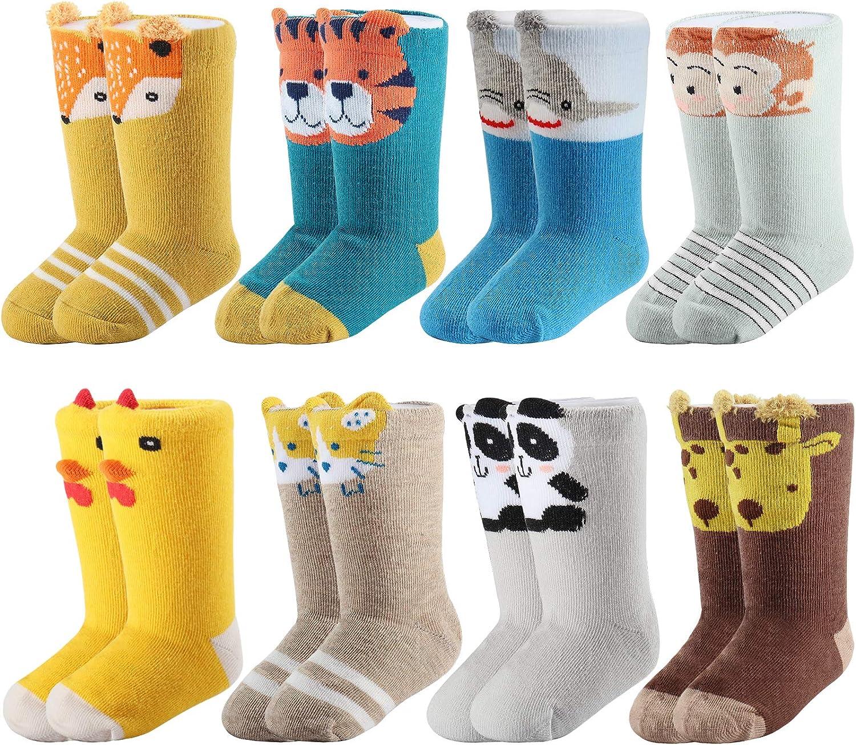 Funkeet 8 Pairs Baby Cotton Long Socks Soft Warm Cute Cartoon Animal Socks for 0-12 Months