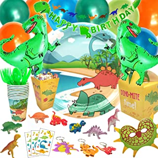 Party Penny Dinosaur Party Supplies - for Boys and Girls - JURASSIC Fun for 12 Kids! Dinosaur Party Decorations, Foil Balloons, Birthday Cupcake Toppers, Mini Toys, Tableware, Pin the Tail and MORE!