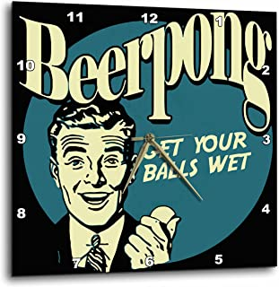3dRose dpp_20579_1 Retro Beer Pong Wall Clock, 10 by 10-Inch