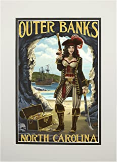 Outer Banks, North Carolina - Pirate Pinup Girl (11x14 Double-Matted Art Print, Wall Decor Ready to Frame)