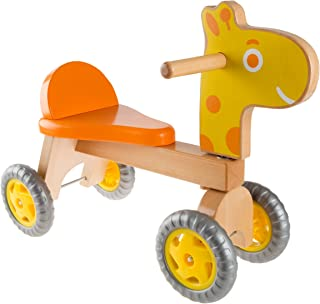 Happy Trails Walk and Ride Wooden Giraffe-Balance Bike for Toddlers 1-2 Years Old-Ride, Push, or Pull Toy Perfect for Boys and Girls