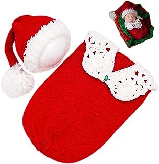 طفل التصوير فوتوغرافي الدعائم عيد الميلاد حقيبة نوم الطفل صورة النار ملابس الكروشيه زي طفل محبوك ملابس عيد الميلاد
