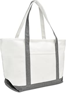 "DALIX 23"" Premium 24 oz. Cotton Canvas Shopping Tote Bag (Gray)"