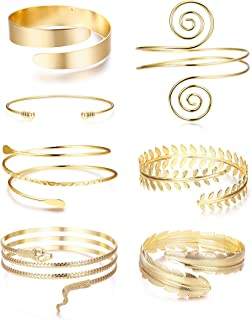 LOLIAS 7 Pcs Arm Cuff Upper Arm Band Cuff Bracelet Minimalist Simple Coil Bangle for Women Silver Gold Adjustable Armband Set