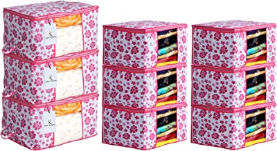 Heart Home Flower Printed Non Woven 6 Pieces Saree Cover and 3 Pieces Underbed Storage Bag, Cloth Organizer for Storage, Blanket Cover Combo Set (Pink) - CTHH17998
