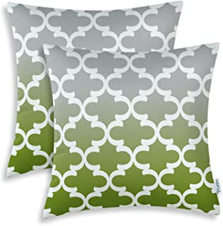CaliTime Pack of 2 Canvas Throw Pillow Covers Cases for Couch Sofa Home Decor Modern Gradient Quatrefoil Accent Geometric 18 X 18 Inches Gray to Olive Green
