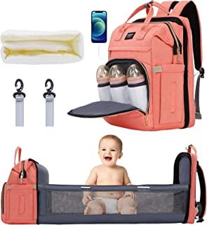 Xinsilu Diaper Bag for Babies and Pregnant Women, Multi-Function Travel Diaper Bag Backpack with Changing Station, Large Capacity Waterproof Baby Backpack, Stylish and Durable, (Coral Pink)