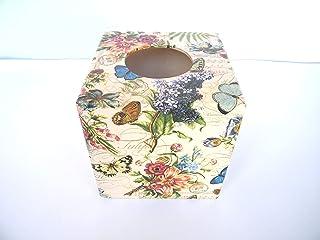 Caja para Pañuelos, Porta Toallitas Faciales Caja de Madera Cubo Dispensador de Papel Servilletas Vintage Flores 13x13x13 cm