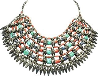 Rajasthan Gems Collana in argento tibetano tribale gioielli corallo naturale Lapiz pietre turchese