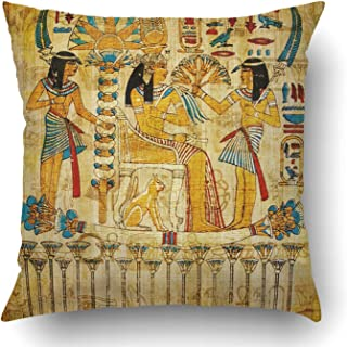 Emvency Throw Pillow Covers Brown Egypt Old Egyptian Papyrus Yellow Ancient Painting Vintage Wall History Parchment Pharaoh Polyester 18 X 18 Inch Square Hidden Zipper Decorative Pillowcase
