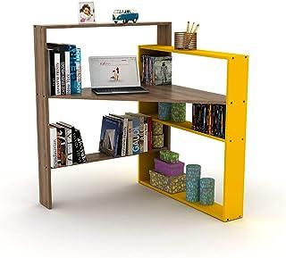 HomeCanvas RF160501 رافين بيسيجور مكتب أركان مثالي للمنزل والمكتب الكمبيوتر المكتبي الألعاب أو مكتب المكتب (أصفر جوز)