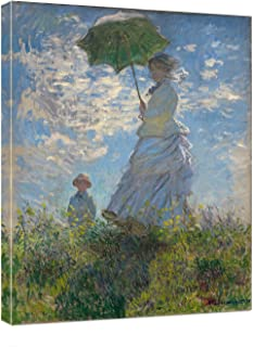 Vijf Arte Woman with a Umbrella by Claude Monet - Canvas Art Wall Decor Picture Print Framed -12