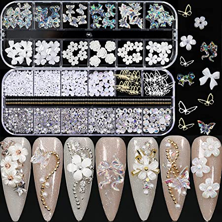 3D Acrylic Butterfly Flowers Bear Nail Charms Nail Art 3D, AB Crystal Rhinestones Multi Shapes Pearl Rhinestones Gold Metal Nail Art, Nail Charms Decal Jewelry Accessories DIY Crafting