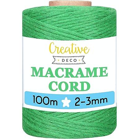 MoreChioce Corde en Coton 2 mm,100 m Naturel Color/ée Ficelle de Macram/é Ficelle demballage pour Fait /à la Main,Tissage D/écoration,Bricolage Artisanat,D/écoration Cadeaux,Jardinage,Argent Blanc