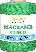 Creative Deco 100 m Groen Macrame Koord Katoenen Koord | 2-3 mm (+-0.5 mm) Dikte 15-laags Koord | 328 Voeten | Grote Touwr...