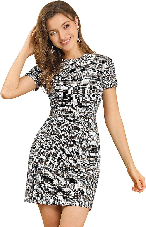 Allegra K Women's Vintage Short Sleeve Contrast Collar Slim Fit Stretchy Houndstooth Mini Dress