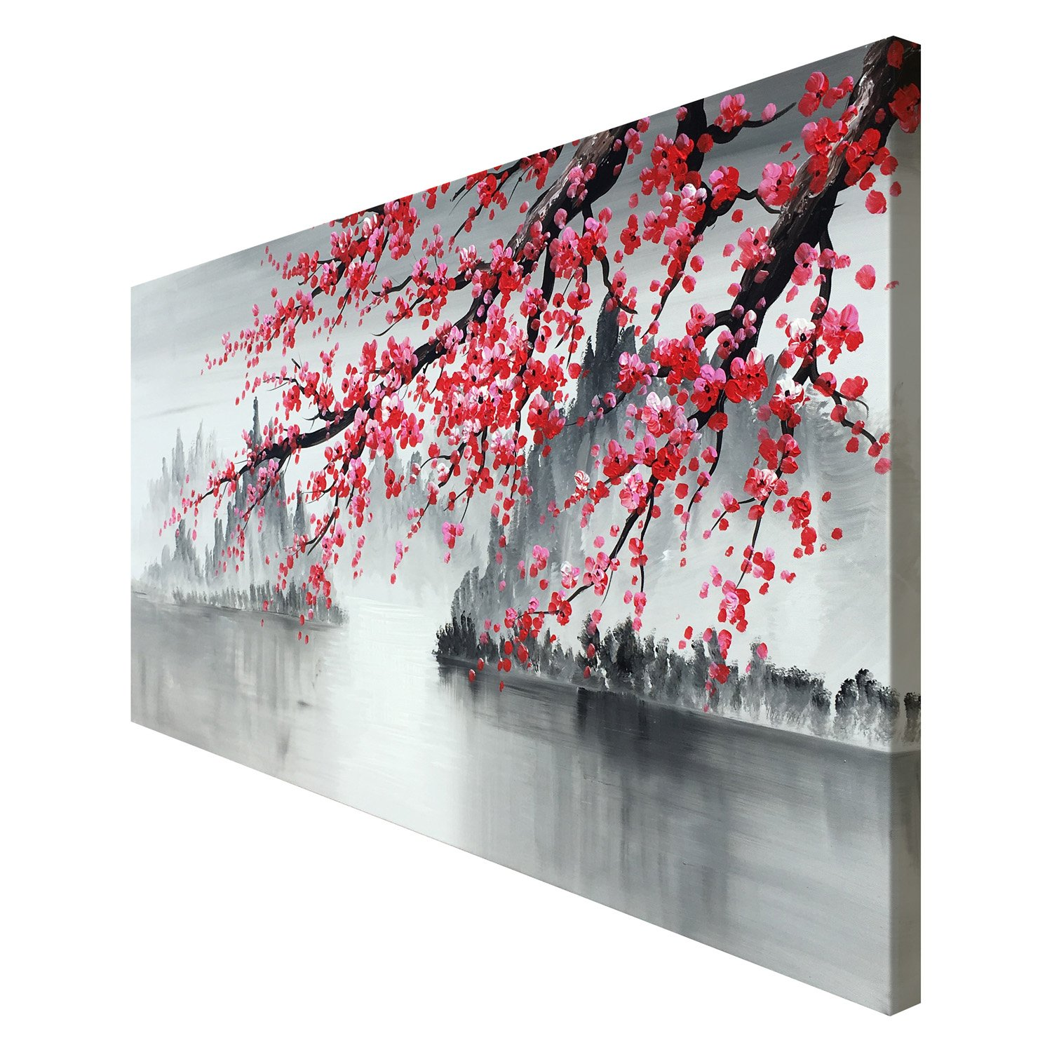 Large Traditional Chinese Painting Hand Painted Plum Blossom Canvas Wall Art Modern Black and White Landscape Oil Painting for Living Room