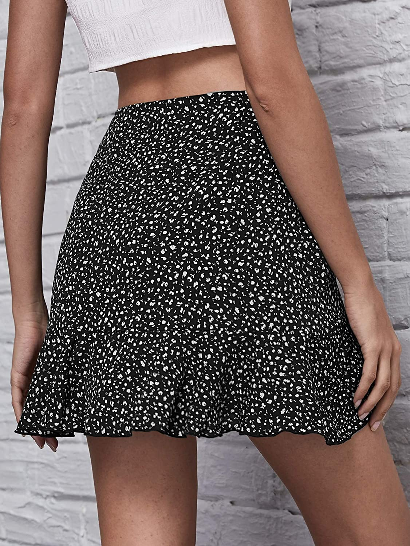 WDIRARA Women's Wrap Tie Side Ruffle Hem Printed Casual A Line Mini Skirt