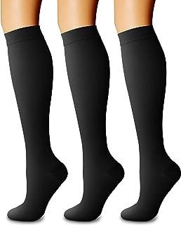 CHARMKING Compression Socks for Women & Men Circulation (Small, Black/Pink/Black)