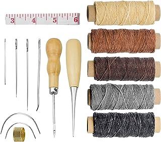 FEIGO Leder Werkzeug, 16 Stück DIY Hand Nähen Kit mit Leder Wachsfaden, Nähahle, gewachst, Fingerhut Gewinde, Nähen Piercing Tool, Nadeln, Maßband für DIY Nähen und Basteln