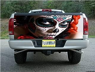 Tailgate Wrap T174 Sugar Skull Day of The Dead Vinyl Graphic Decal Sticker F150 F250 F350 Ram Silverado Sierra Tundra Ranger Frontier Titan Tacoma 1500 2500 3500 Bed Cover