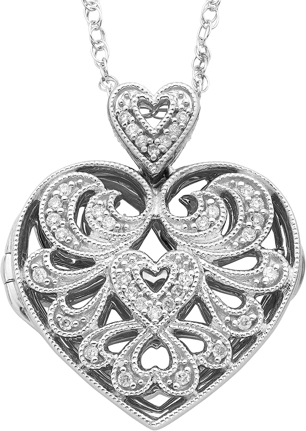 """.925 Sterling Silver 1 10 Cttw 7 Filigree Superior Diamond Hea Sales of SALE items from new works 8"""" Studded"""