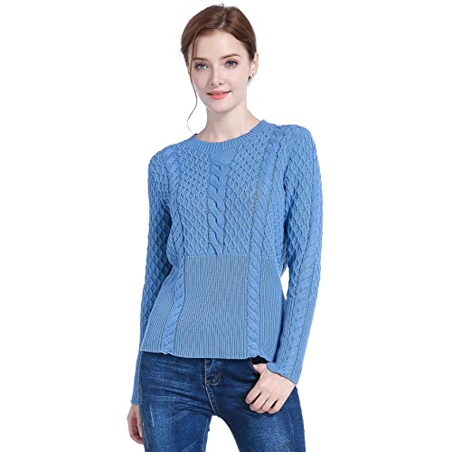a032c988acf v28 Women's Girl Crew Neck Knit Ribbed Long Sleeve Jumper Pullover Sweater