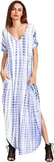 MakeMeChic Women's Boho Casual Maxi Short Sleeve Split Tie Dye Long Dress with Pockets
