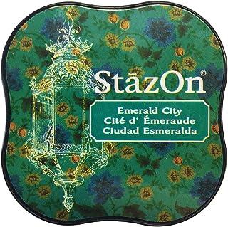 Tsukineko Stazon Midi Esmeralda Ciudad Almohadilla de Tinta, Color Verde, 5.8 x 5.8 x 2.1 cm