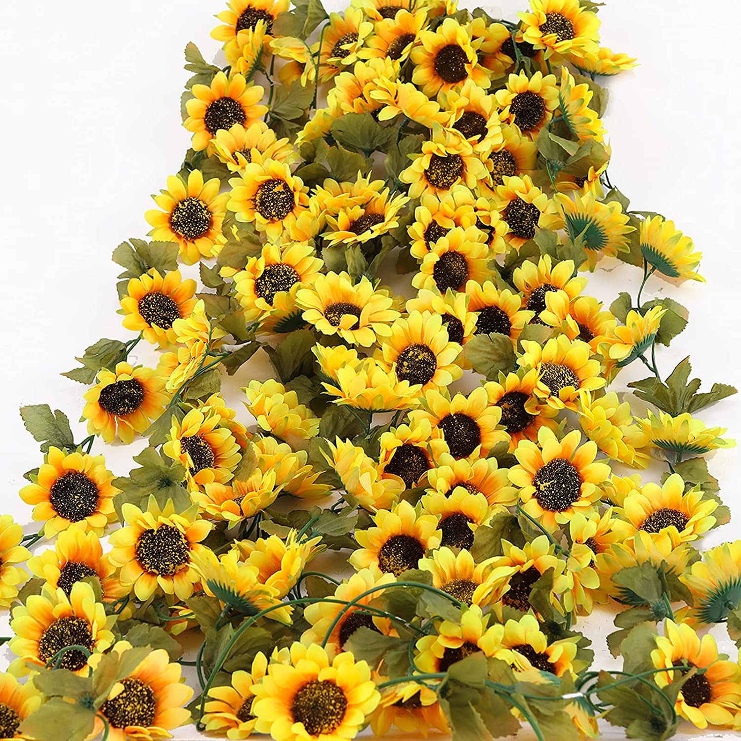 PARTY JOY 3Pack Artificial Sunflower Garland Silk Sunflower Vine Artificial Flowers Garland with Green Leaves for Wedding Party Table Decoration (Yellow, 3)