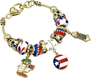 Elosee Puerto Rico Theme Murano Glass Charm Bracelet 7.5 Inch